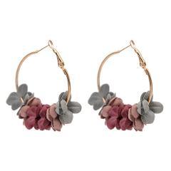 Fashion Elegant Fabric Flower Drop Earrings For Women Bijoux Sweety Colourful Petal Alloy Ear Circle Big Earrings Charm Brinco