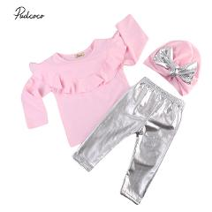 2017 Autumn Newborn Toddler Baby Girls Ruffles Long Sleeve Tops Sweatshirt+Leggings Pants+Hat 3PCS Outfits Children Clothes Set