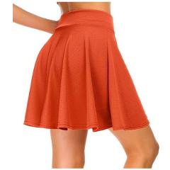Soft Good Quality Casual Half-circle Skirts High Waist Pleated Red Black Orange Yellow White Mini Skirt Elastic Waist Party