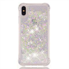 For iPhone Xs Max Soft Case Xr X 8 7 Plus 6 6s Plus Water Cover Clear Panel Glitter Sands Shock Absorb Cute Girly Women Durable