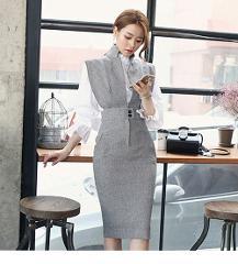 2019 High Quality New Brand Dresses Luxury Runway Designers Dress Autumn Winter Korean Style Women Black Gray Vest Party Dress