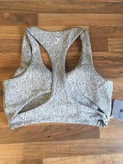 Ladies XS Gymshark fleur Texture Sports Bra Extra Small Grey Charcoal