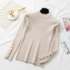 retro round neck pullover long sleeve sweater women High Elastic Solid 2019 Fall Winte short Slim bottoming thin sweater Female