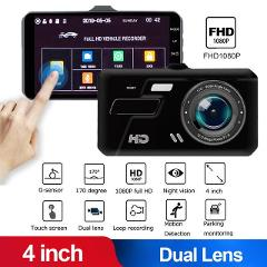 Car DVR 2 Cameras Lens 4Inch Dash Camera Dual Lens With Rearview Camera 170° Angle Video Recorder Auto Registrator Dvrs Dash Cam