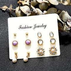 2019 Fashion Wedding Jewelry Sets for Women Luxury Gold Crystal Stud Earrings Love Pendant Necklaces Set Gifts NE+BR+EA+RI