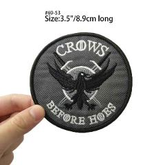 WOLF Game of Thrones House Arryn Crows Before Hoes Embroidered LOGO Iron On Patch GAME OF THRONES HOUSE STARK