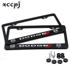 2 pcs Stainless Steel  Universal Holes Black Car License Plate Frame Number plate Holder with 4 Chrome Screw Caps for DODGE