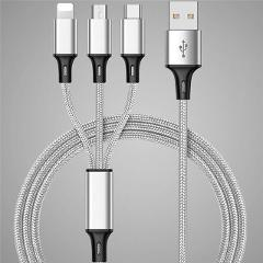 3in1 Fast Charger Cable Type C Micro USB Cable Universal Multi Function Cable For iphone 6 6S 7 8 Plus Android Smart phone