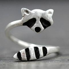 Fashion Creative Silver Color Raccoon Female Ring Cute Animal Opening Rings for Women Party Adjustable Jewelry Wholesale Anillos