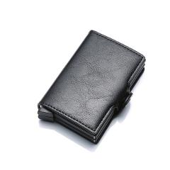 Top Quality Rfid Wallet Men Money Bag Mini Purse Male Aluminium Card Wallet Small Clutch Leather Wallet Thin Purse carteras 2019