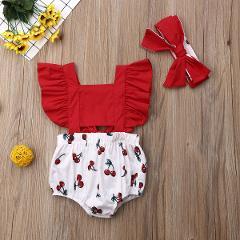 Newborn Baby Girls Ruffle Cherry Bodysuit Headband Sunsuit Outfits Summer Pachwork Baby Bodysuits Babygrow Girls Clothes