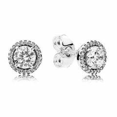 New 925 Sterling Silver Earring Classic Elegance With Clear Crystal Stud Earrings For Women Wedding Gift Fine Pandora Jewelry