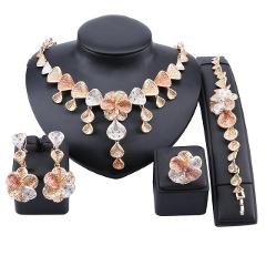 African Chunky Jewelry Sets for Women Necklace Dubai Gold Statement Costume Bracelet Ring Earring Jewelry Set