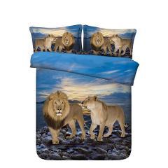 4/6pcs Blue ocean with Tiger / Lion / Shark bed sets Single size bedding for teen boys duvet cover set Queen Super king sheets
