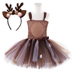 Deer Tutu Dress Baby Girls Dresses for Girls Halloween Costume For Kids Elk Cosplay Christmas Birthday Party Dress With Headband