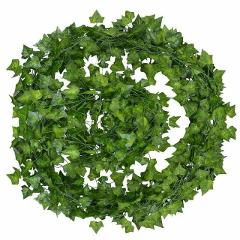 12pcs 2M Artificial Ivy green Leaf Garland Plants Vine Fake Foliage Home Decor Plastic Rattan string Wall Decor Artificial Pant