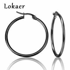 Lokaer Pendientes Mujer Hoop Earrings Stainless Steel 4 Colors Circle Earring For Women Girl Jewelry Pendientes E18110