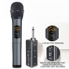 Wireless bluetooth Microphone System with Rechargeable Receiver 1/4'' Output 10 Channel UHF Mic for KTV Speech Church Wedding