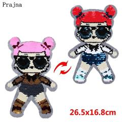 Prajna Surprise Dolls Patches Queen Bee Reversible Change Color Sequins Appliques Sewing On Jacket DIY Badge For Clothing