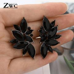 ZWC Fashion Vintage Korean Multicolor Zircon Drop Earrings for Women Girls Engagement Party Charm Rhinestone Earrings Jewelry