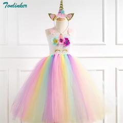 Unicorn Costume Flower Girls Unicorn Tutu Dress Rainbow Princess Girls Birthday Party Dress Children Kids Cosplay 2-10Y