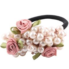 1PC Korean Beads Flower Pearls Elastic Hair Rope Ponytail Holder Headwear Ornament Decoration Jewelry Accessories for Women