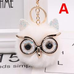Lovely Sequin Ear Owl Keychains For Girls Boy Fluffy Fake Animal Fur Ball Pompon Key Chain Charm Women Bag Key Ring Xmas Gift