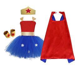 1 Set Wonder Woman Girls Tutu Dress Brave Super Girls Superhero Hero Theme Birthday Party Dresses Halloween Costume For Kids