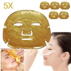 5Pcs/Lot Women Skin Care Facial Mask Gold Collagen Gold Crystal Collagen Powder Firming Face Facial Mask Anti-Aging Moisturizing