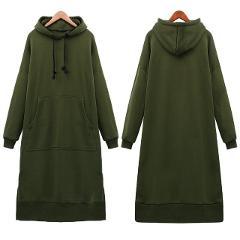 Women's Casual Loose Long Hoodies Autumn Solid Color Sweatshirt Hooded Sweatshirt Dress