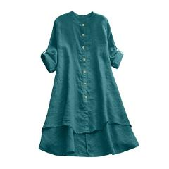 Womens Tops and Blouses Casual Shirt Dress Button Long Sleeve Loose Blouse Turn-down Collar Summer Plus size dress#g30