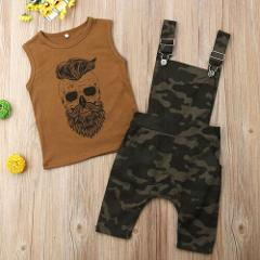 Summer Toddler Baby Boys Two Piece Casual Clothes Sleeveless Printing Tank Top Vest Camo Overalls Outfits Set
