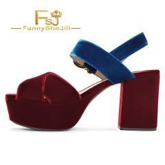 Blue and Scarlet Red Chunky Block Heel Sandals Platform Sandals Summer Attractive Noble Generous Women Shoes Elegant Size 15 FSJ