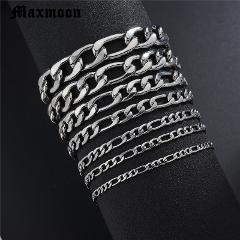 Maxmoon Bracelets For Men Women 3/5/7/9/11mm Silver Stainless Steel Curb Cuban Link Chain Bracelets Party Jewelry Gift