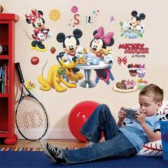disney mickey minnie mouse pluto wall stickers for kids rooms party home decor cartoon wall decals pvc mural art diy posters
