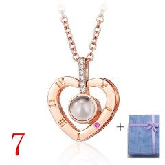 2018 New Arrival 100 Languages I Love You Projection Pendant Necklace Romantic Love Memory Wedding Reiki Women Necklace Jewelry