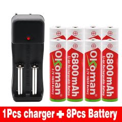 2019 Okoman 18650 battery 3.7V 6800mAh rechargeable liion battery with charger for Led flashlight battery+1pcs Charger
