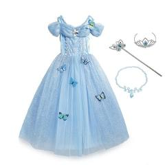 MUABABY Girl Cinderella Dress up Princess Costume Butterfly Kids Sleeveless Party Dresses Halloween Kids Pageant Cosplay Fantasy