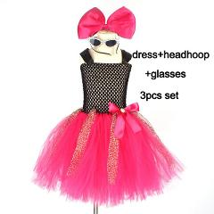 Bright Pink Girls Tutu Dress with Headband and Glasses Bow Leopard Fancy Kids Tulle Birthday Party Dress Pageant Dance Costume