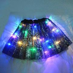 Horrible Scary LED Glowing Light up Kids Girls Spider Web Cobweb Costume Skirt Tutu Cosplay Carnival Party Halloween Costume