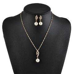 Fashion Elegant Women  Spiral Pearl Pendant Chain Pearl Necklaces + Earring Jewelry Set