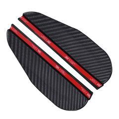 2x Foldable Soft PVC Car Side Rear View Mirror Rain Eyebrow Visor Carbon Fiber Look Sun Shade Snow Shield Cover Car Accessories