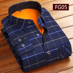 Fashion Men Winter Thick Flannel Warm Plaid Dress Shirts Long Sleeve Men's Work Shirts Casual Slim Fit Camisa Social Shirts 4XL