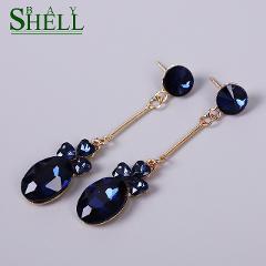 Shell bay CZ Zircon Drop Earrings for Women Rhinestone Trendy geometric Crystal Earrings Shape Female Jewelry Brinco Girls Gift
