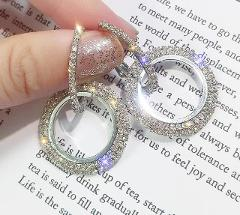 Crystal Drop Earrings Luxury Shining Gold Silver Color Round Rhinestone Dangle Earring for Women Wedding Party Earring Jewelry