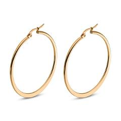 1 Pair Women Hypoallergenic Stainless Steel Rounded Smooth Big Large Hoop Earrings Jewelry Size 30-60mm