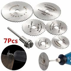 7pc Metal Circular Saw Disc Wheel Blades Shank High Speed Steel Mini Saw Blades with Mandrels Drill Warehouse Rotary Wood Cutout