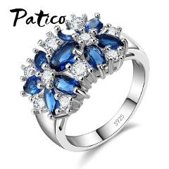 PATICO Pure 925 Sterling Silver Sparkling Rings for Women Girls Brilliant CZ Crystal Wedding Engagement Jewelry Summer Sale