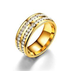 Titanium Stainless Steel Rings For Women Slash Double Line Of CZ Fashion Jewelry Wholesale Valentine's Day Gifts