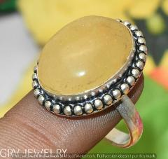 """Yellow Agate Gemstone Ring 925 Sterling Silver Overlay U265-E157 Us Size 8.5"""""""